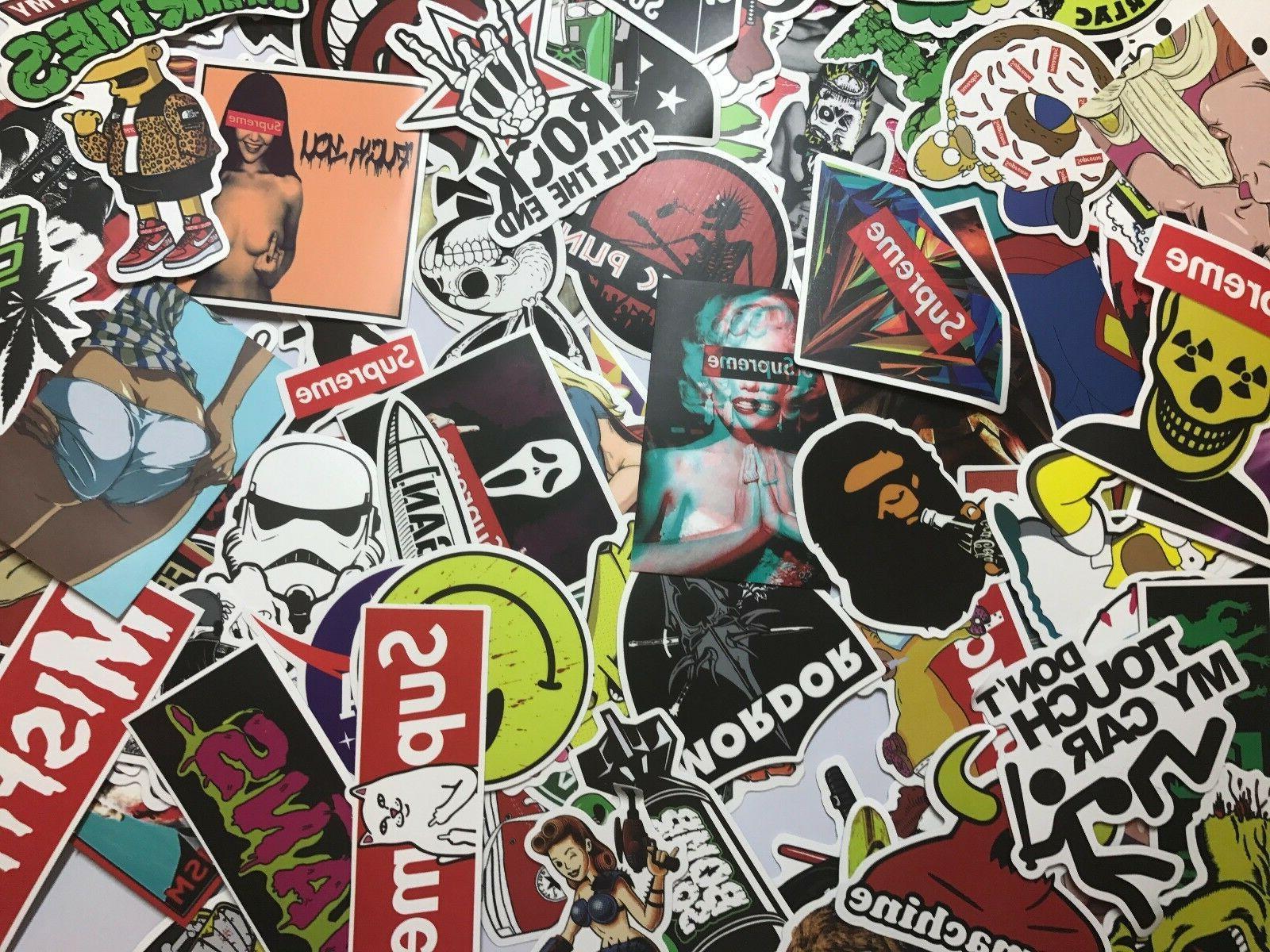 100 Skateboard Vinyl Laptop Decals Dope Sticker Lot cool