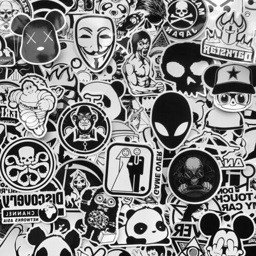 100 Black Skateboard Stickers Laptop Luggage Cool