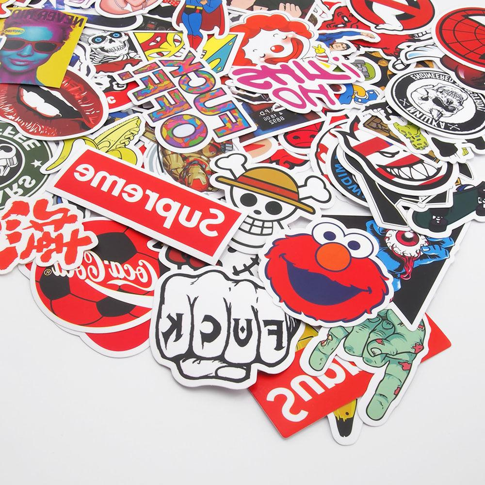 100 Pack Skateboard Stickers Vintage Vinyl Laptop Luggage De