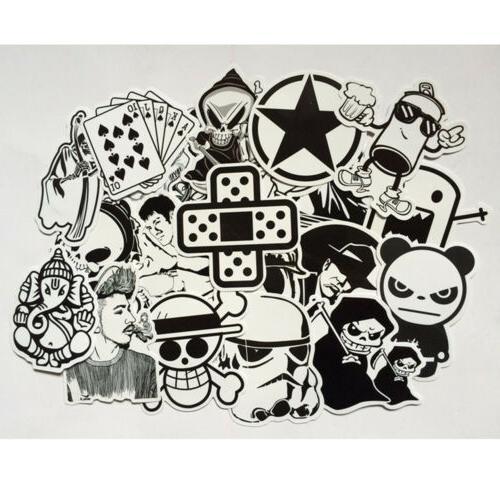 100 pc black white stickers mix lot