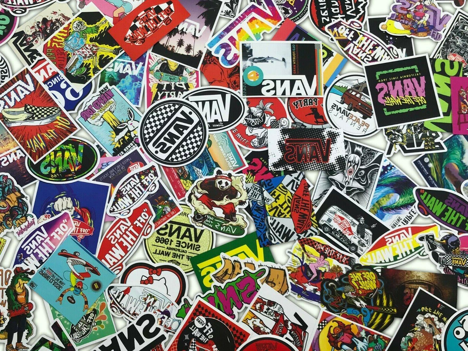 100 PCS VANS OFF THE WALL Logo Decal Sticker Skateboard Lapt