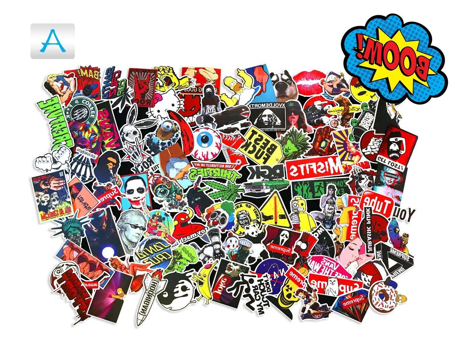100 Random Skateboard Stickers Vinyl Laptop Luggage Decals D