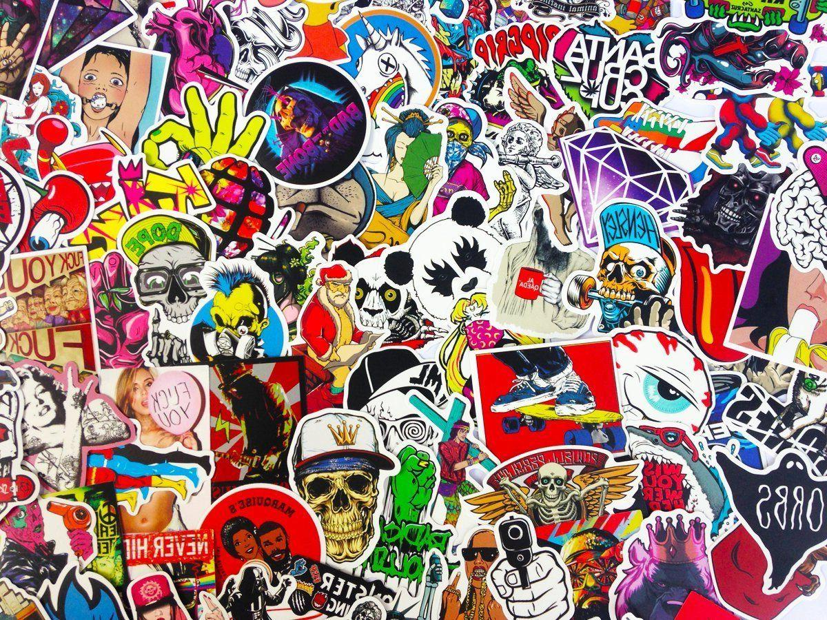 100 Skateboard Stickers bomb Vinyl Dope Sticker