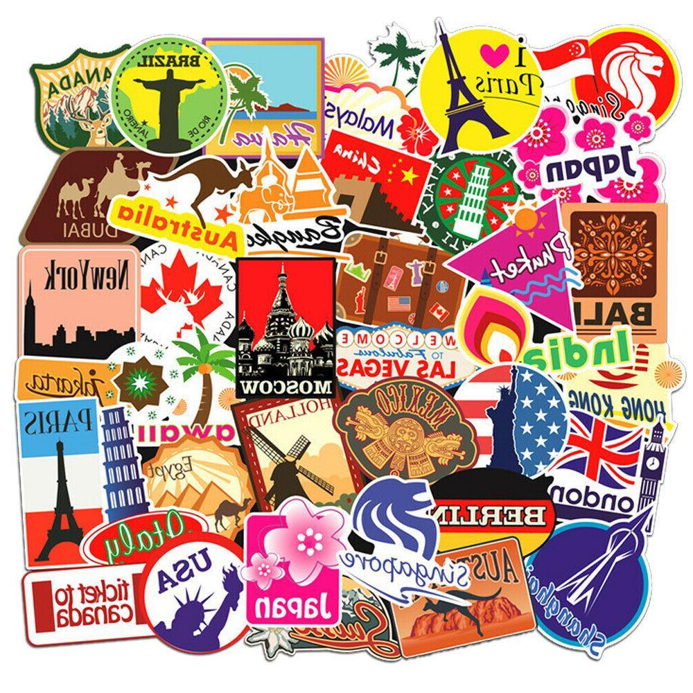 100 travel skateboard stickers bomb vinyl laptop