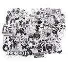100Pcs Black and White Stickers Skateboard Luggage Laptop PV