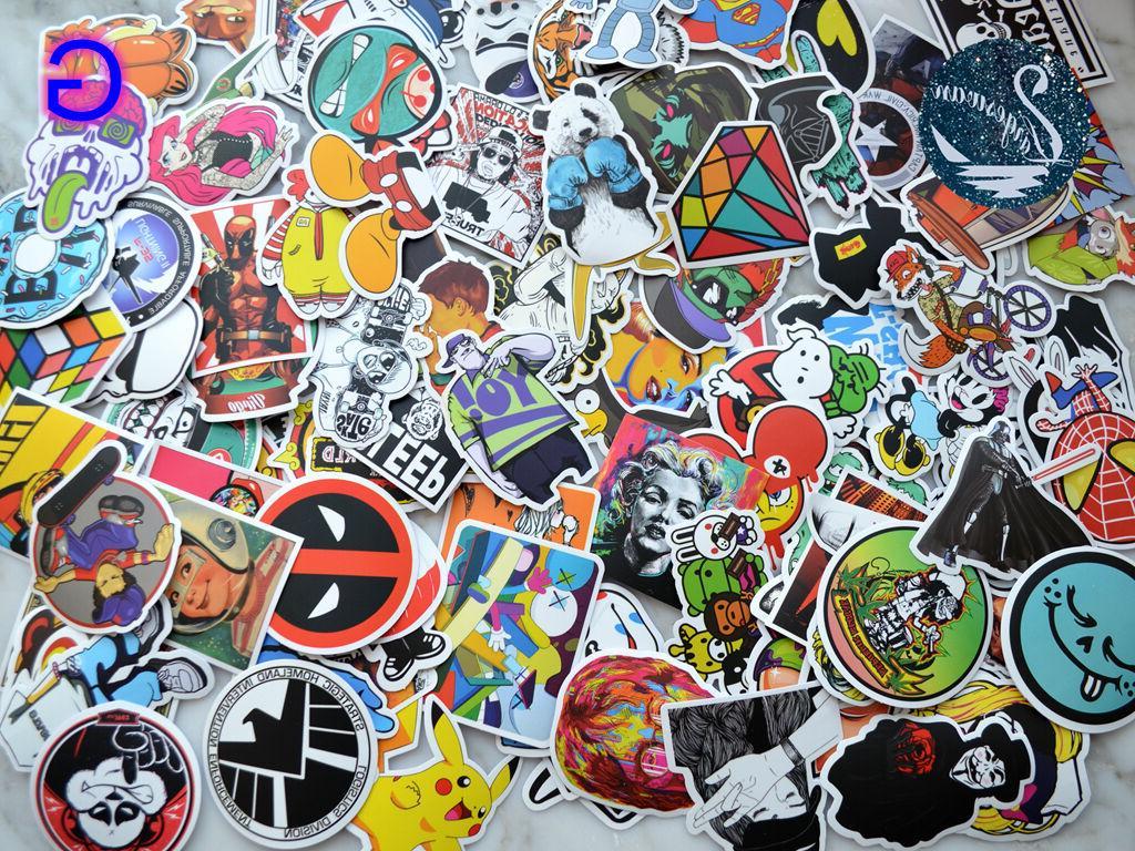 100pcs Decals Skateboard Laptop Luggage Sticker Mix