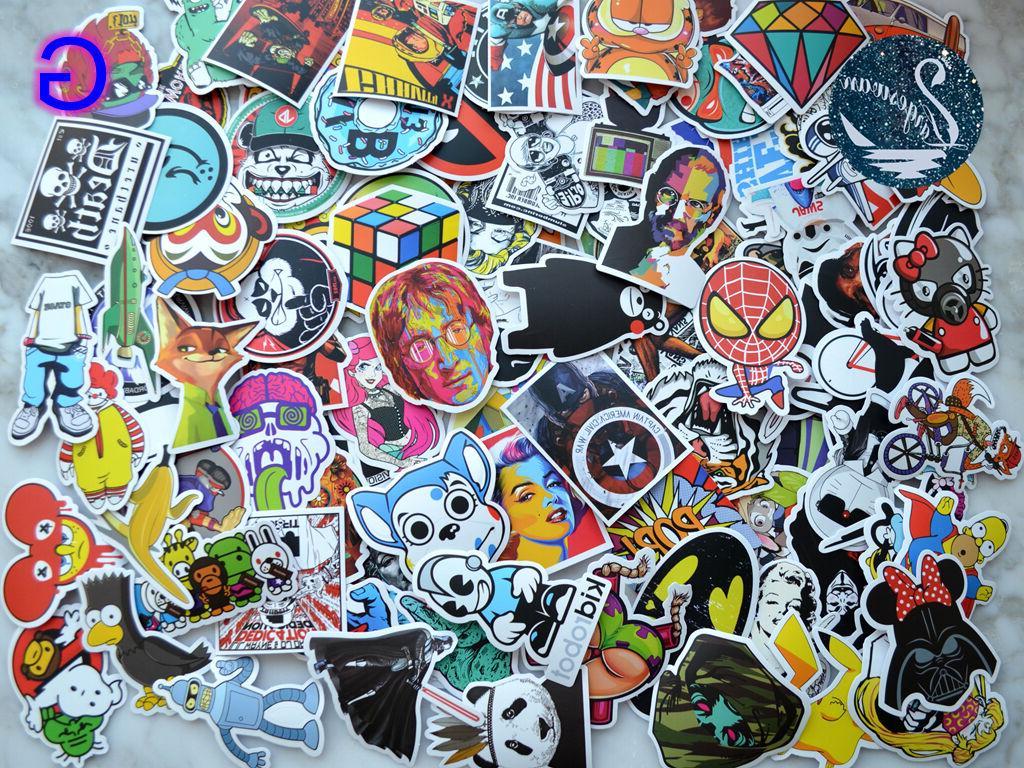 100pcs Graffiti bomb Vinyl Decals Laptop Luggage Sticker Mix
