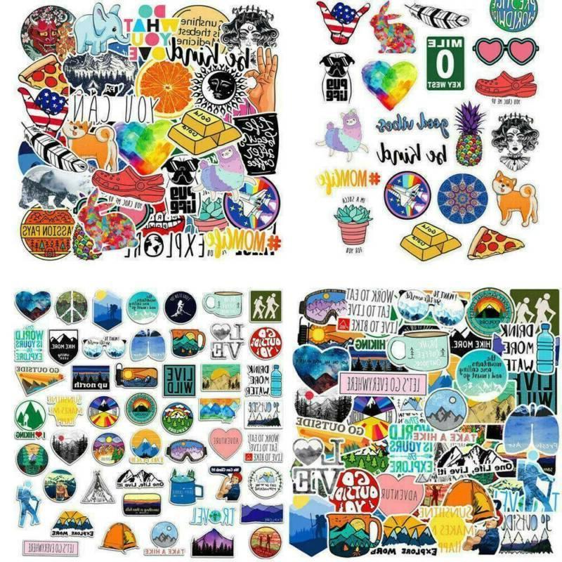 100Pcs Sticker Random Vinyl Laptop Skateboard Bike Luggage D