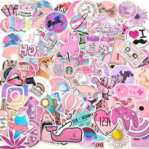 100Pcs Pink VSCO Sticker Bomb Car Skateboard Laptop Lot