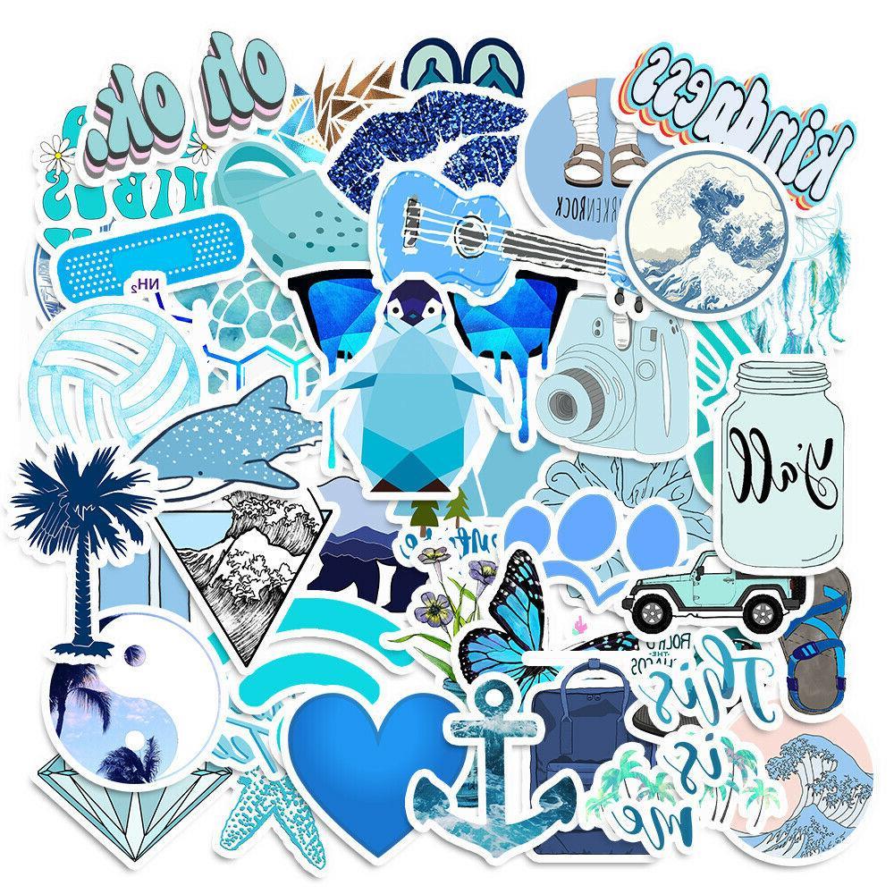 50PCS Blue Skateboard Stickers Vinyl Laptop Luggage Decals V