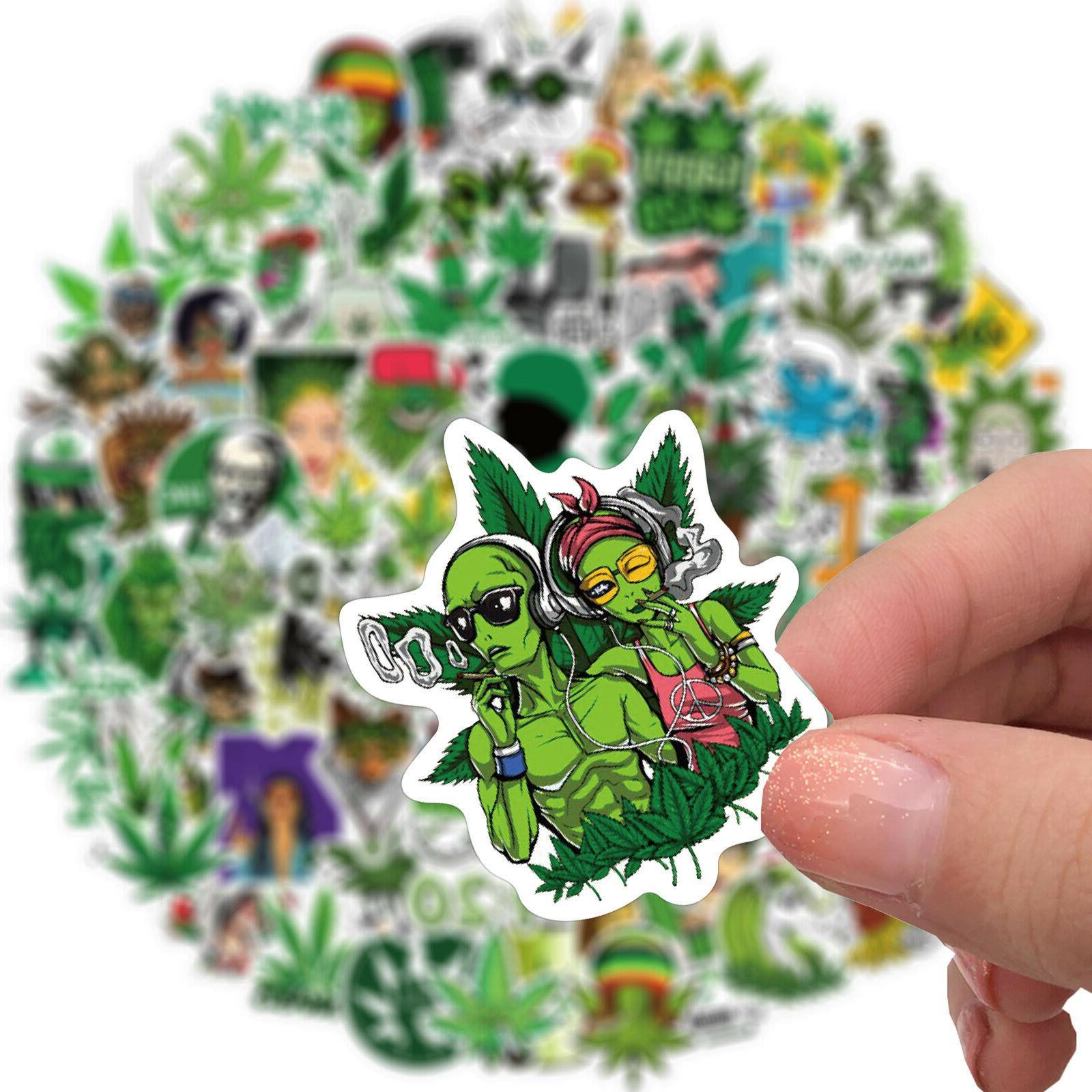 100pcs Weed Leaves Stickers Smoking Graffiti Luggage Laptop USA!