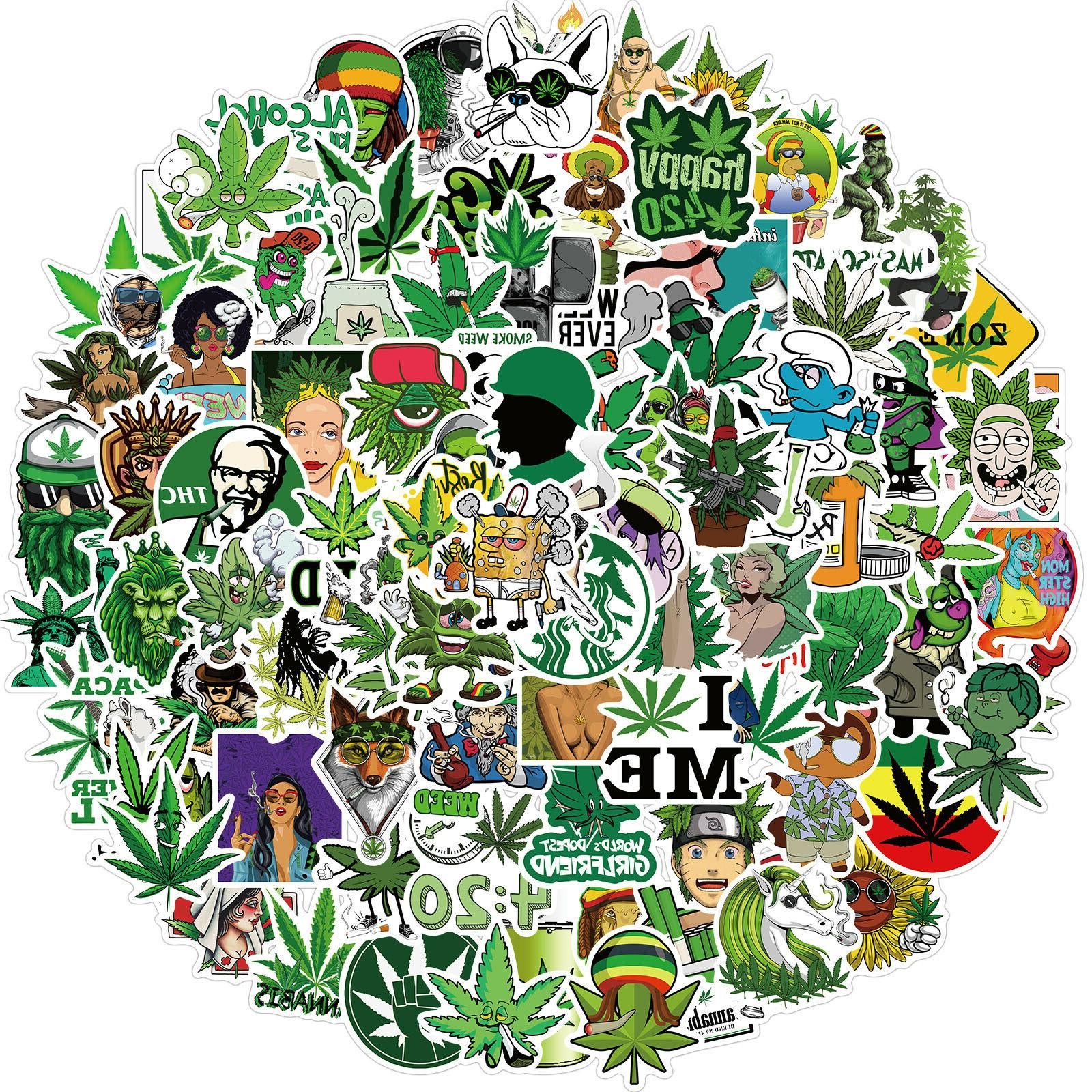 100pcs Weed Leaves Stickers Smoking for Luggage Laptop