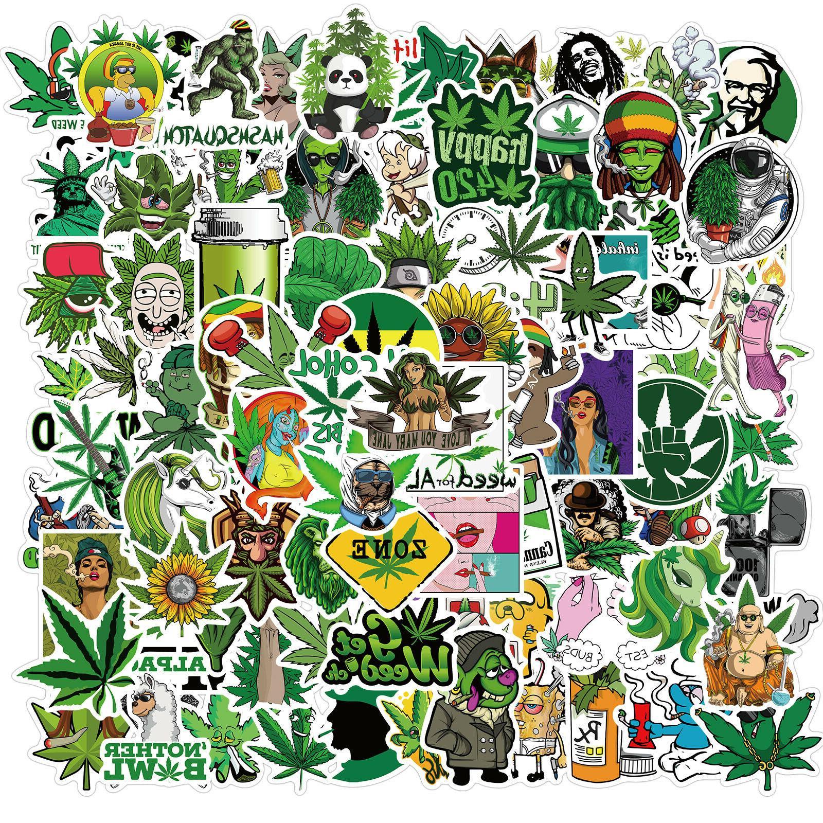100pcs weed leaves stickers smoking graffiti