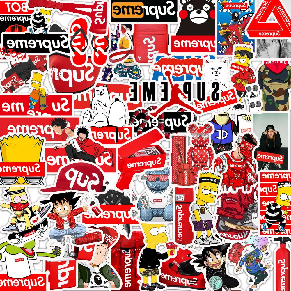 50pcs supreme stickers laptop skateboard bart anime