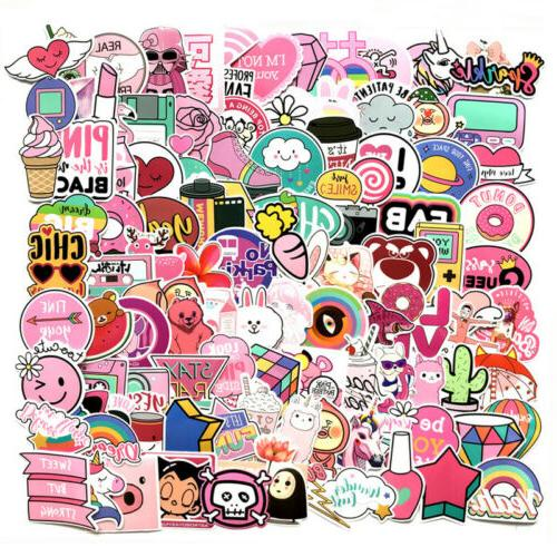 110pcs cute pink stickers bomb waterproof skateboard
