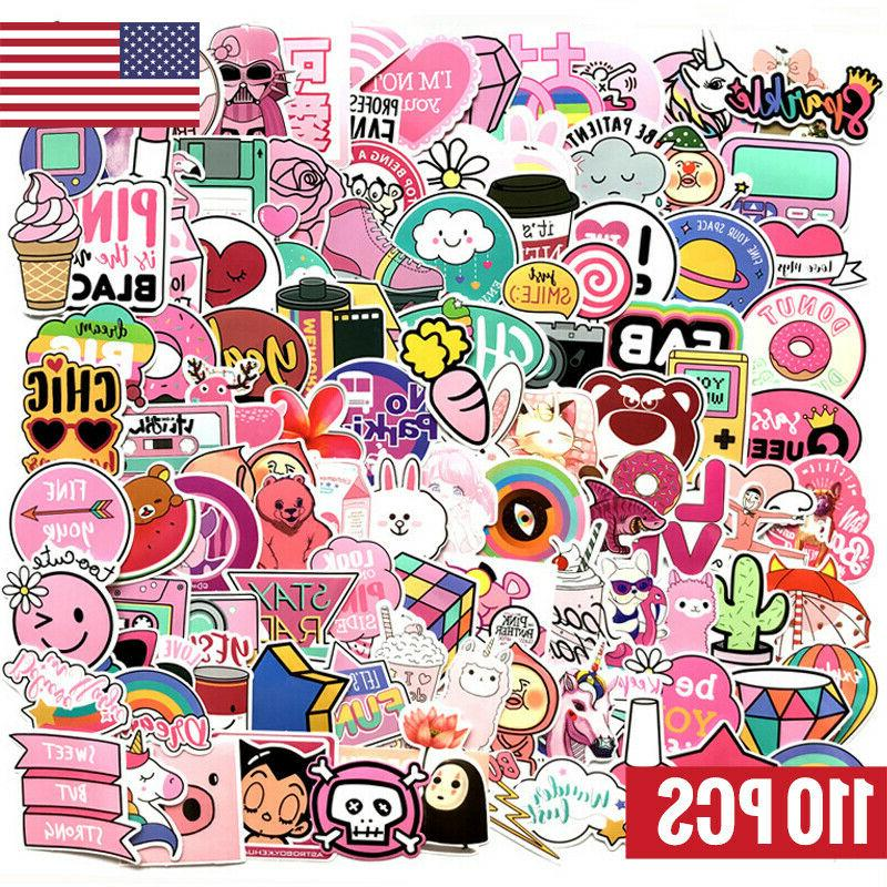 110pcs pink stickers bomb waterproof skateboard luggage