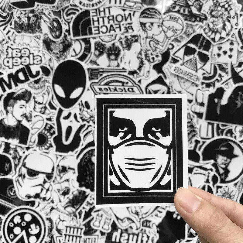 120 Black White Sticker Luggage Laptop Decal