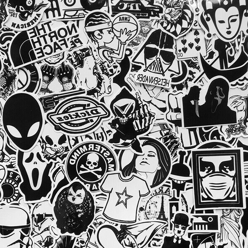 120 Black White Motorcycle Sticker Bomb Luggage