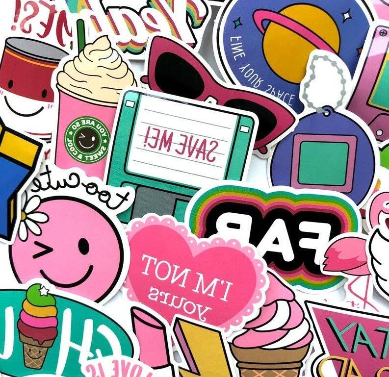 1980s Girl Sticker Bomb Pack, Pink Vinyl Decal Lot