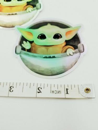 """2 Pk 3"""" Vinyl Holographic Sticker Laptop/Hydro - Child Baby Yoda"""