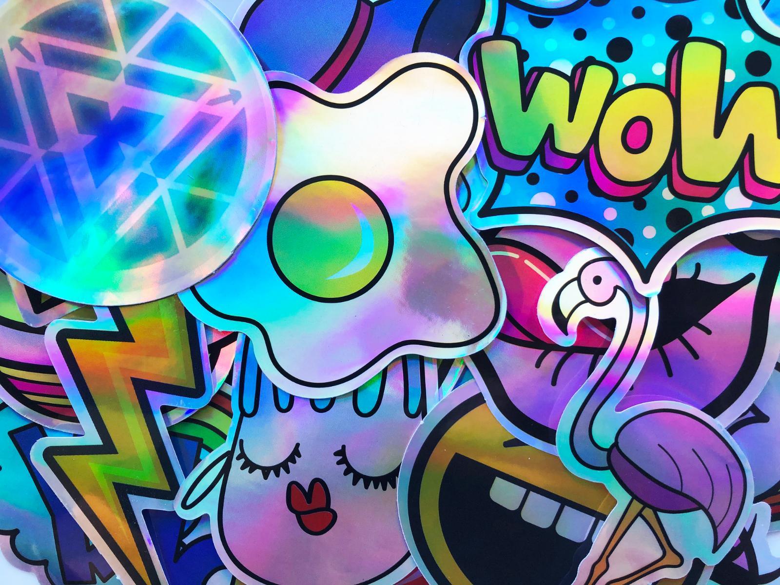 20 Shiny Reflective Graffiti Cool Stickers Decals