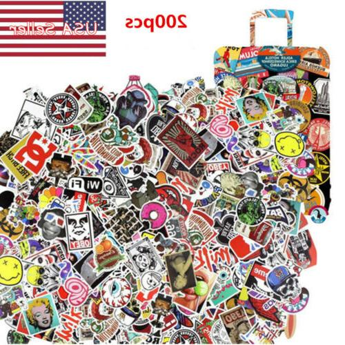 200 pcs random skateboard stickers graffiti laptop