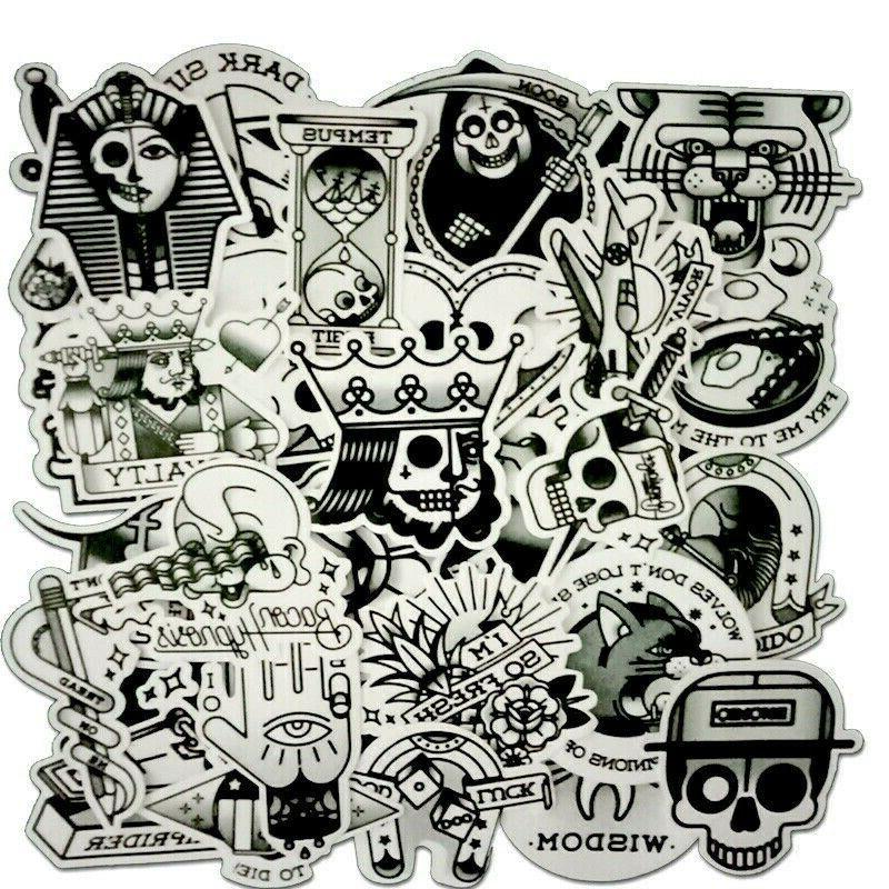 Black White Tattoo Sticker Bomb Pack Skull Vintage Laptop Sk