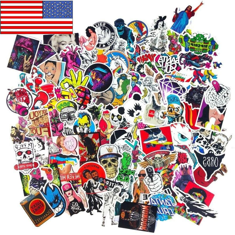 300 Random Skateboard Stickers bomb Vinyl Laptop Luggage Dec