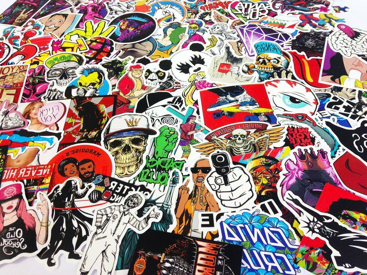 100 Skateboard Stickers Vinyl Laptop Decals Dope Sticker cool