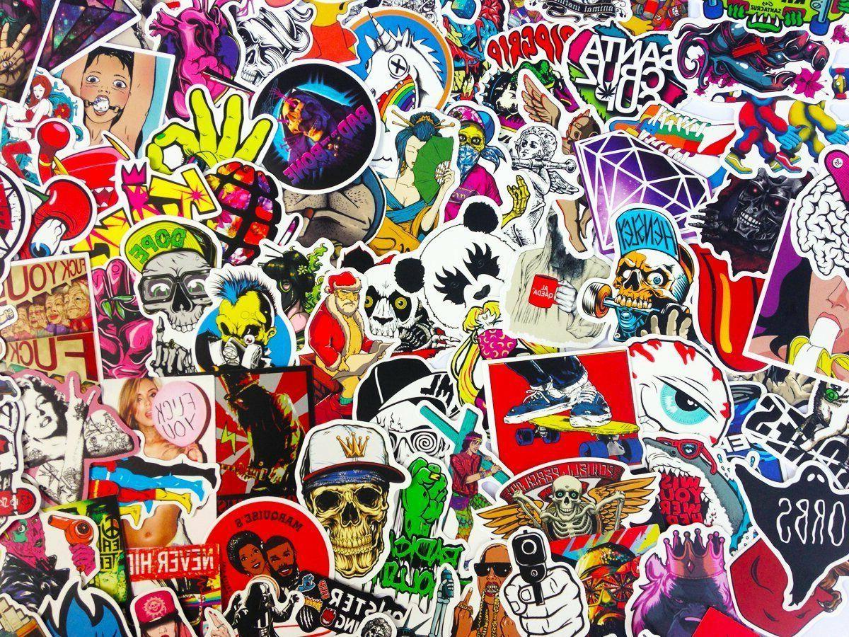 100 Skateboard Stickers bomb Vinyl Dope Sticker