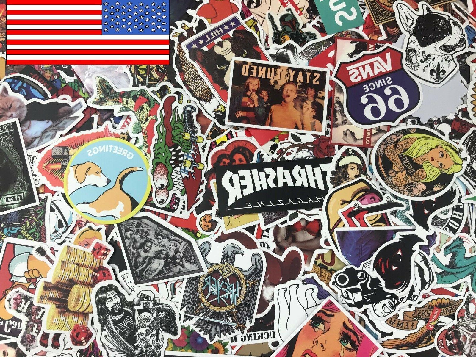 300 lot random vinyl laptop skateboard stickers