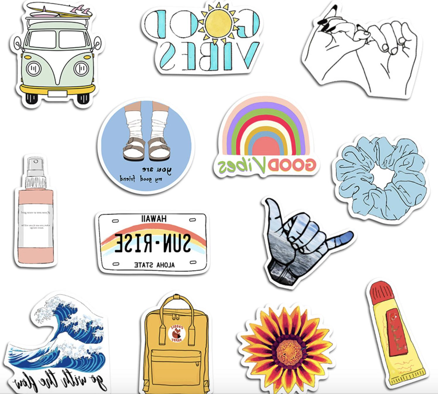 35PCS VSCO Cute Sticker Pack for Skateboard Luggage