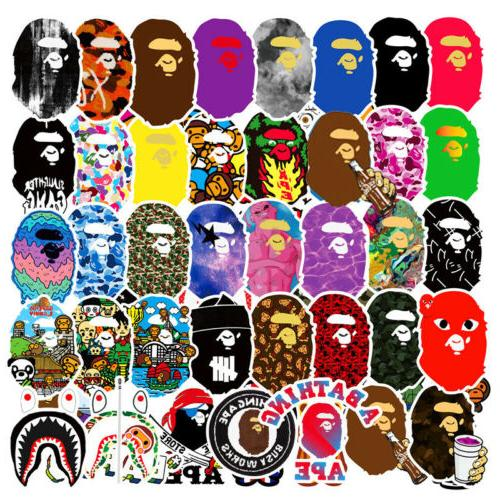 50pcs vinyl bape sticker bomb skateboard luggage
