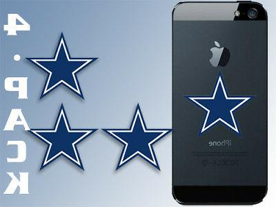 4-PACK 1.5x1.5 Inch Small Blue Star Stickers -dallas cowboy
