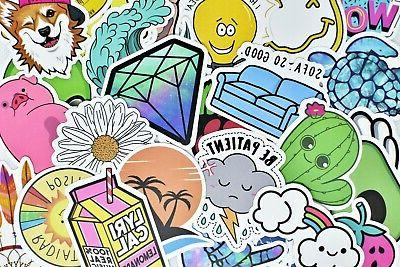 50 Vinyl Stickers Pack for Hydro Flask Laptop Journal