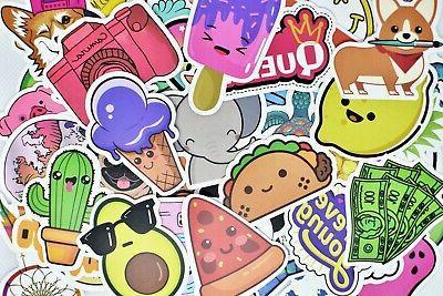 50 cute teen girl vinyl stickers pack
