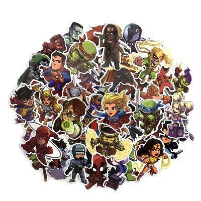 50 pcs Chibi DC Marvel Super Heroes Sticker Decals for Skate
