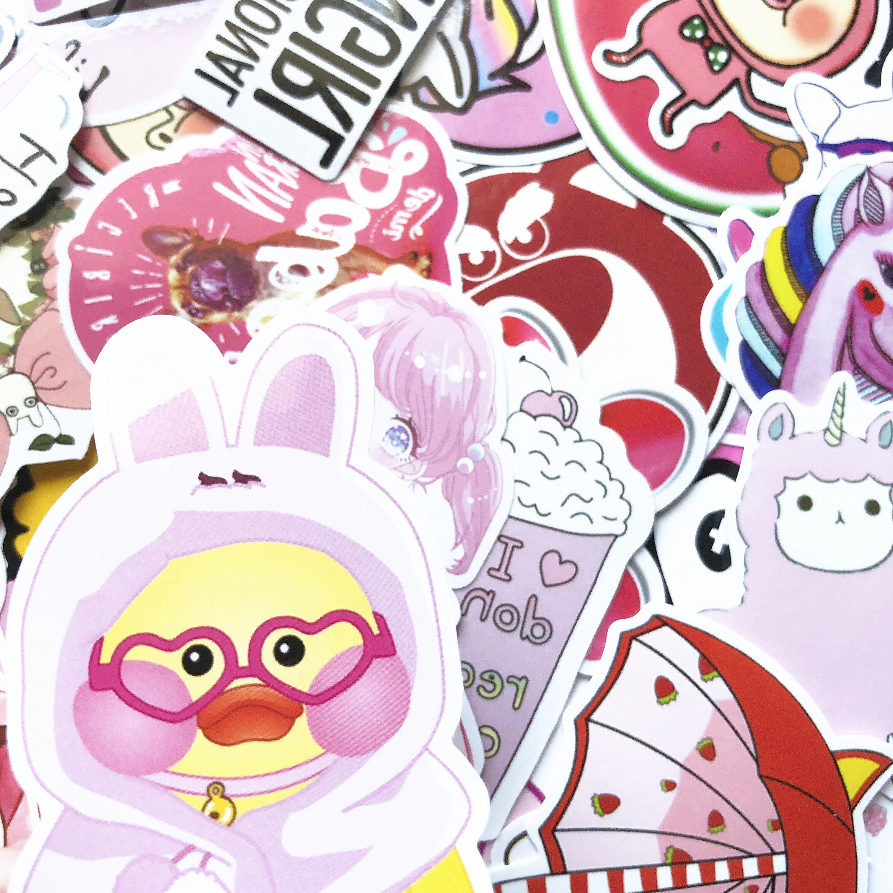 50 PVC <font><b>Pink</b></font> Toys The Luggage For Moto Car Suitcase Fashion <font><b>Laptop</b></font> <font><b>stickers</b></font>