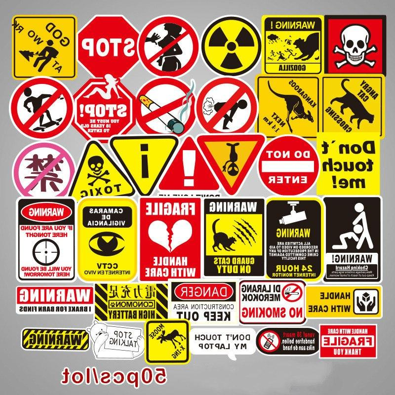 50 pcs warning stickers danger banning signs
