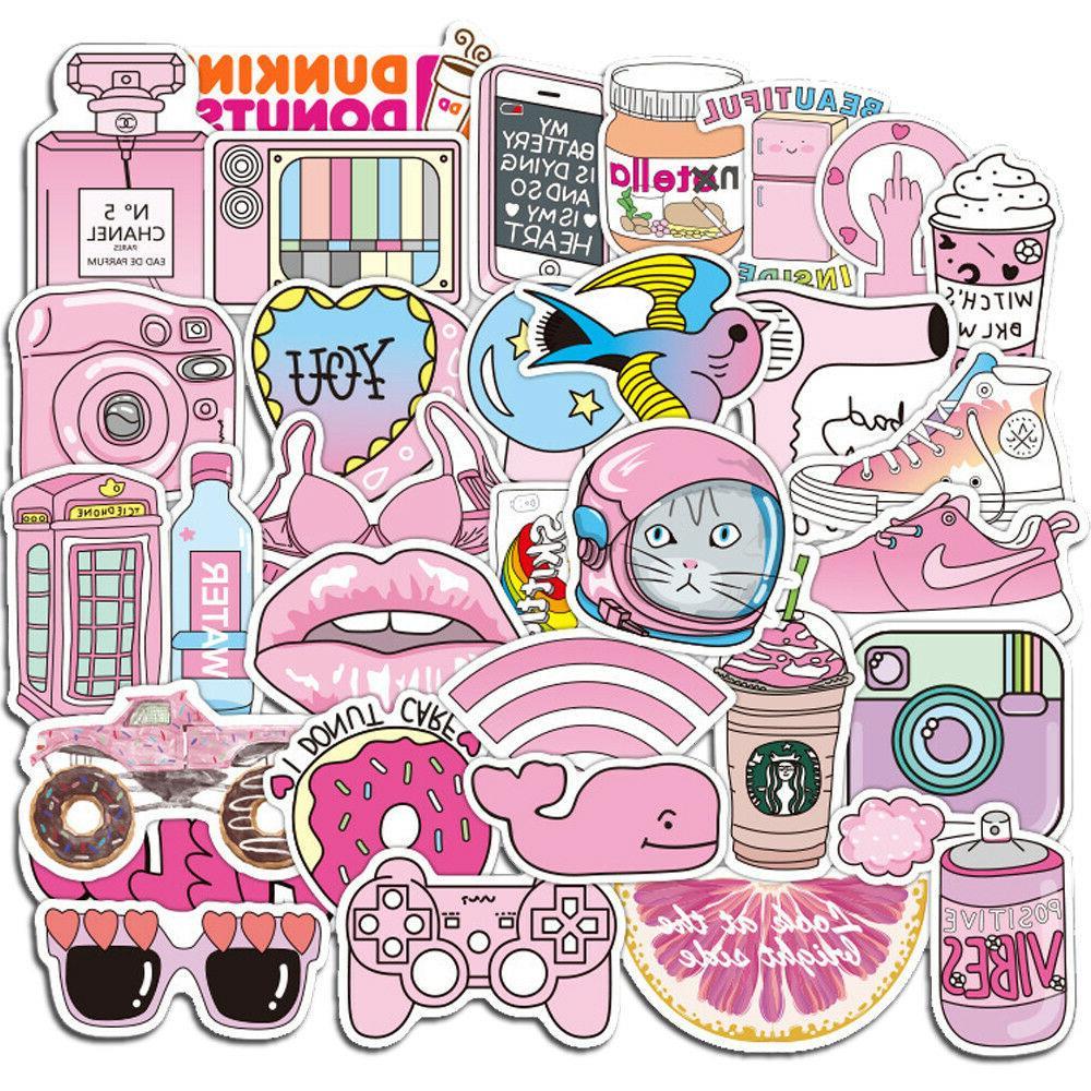 50 pink girl cartoon graffiti decals skateboard