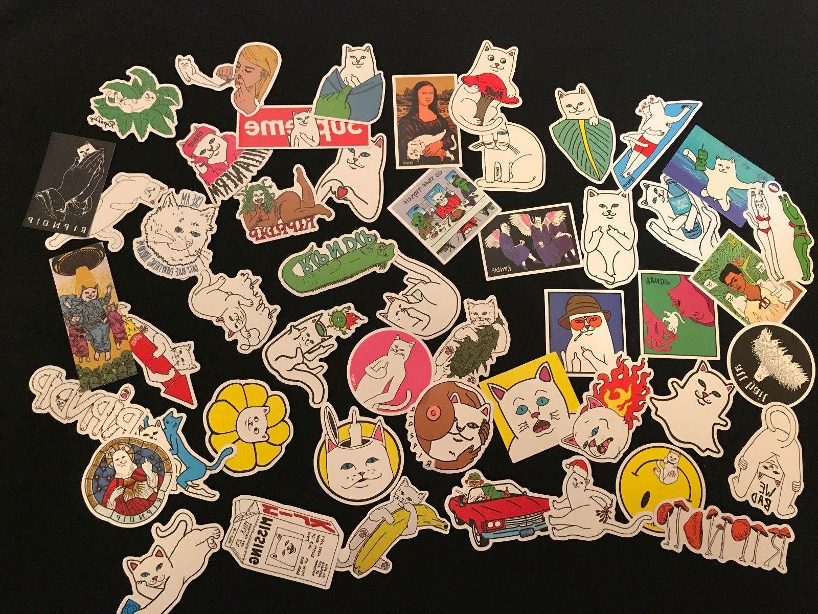 50 supreme ripndip skateboard vintage vinyl sticker