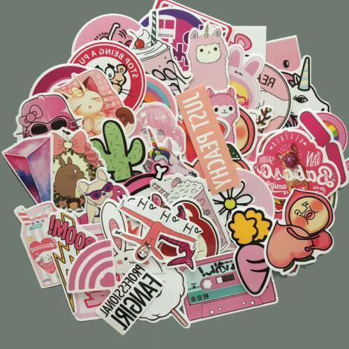 50pcs Pack Anime Cute Pink Stickers Decals Skateboard Car Lu