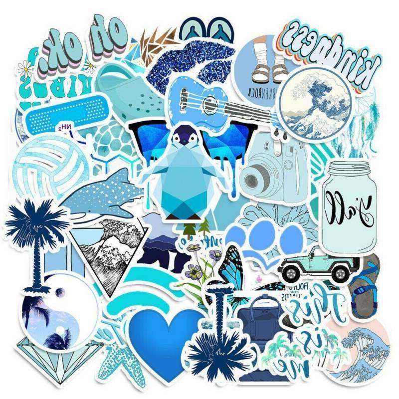 50Pcs Mixed Blue Skateboard Stickers Vinyl Laptop Luggage De