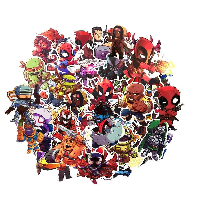50Pcs Cartoon <font><b>Marvel</b></font> Waterproof For Laptop Moto Skateboard Guitar Decal Toy <font><b>Stickers</b></font>