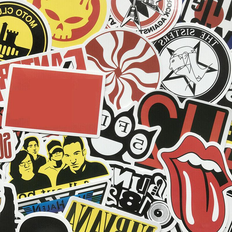 50Pcs Cool Bands Artists Stickers Bomb For Skateboard Decals