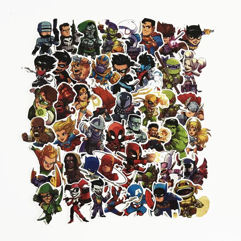 50Pcs <font><b>Marvel</b></font> Cartoon Laptop <font><b>Sticker</b></font> For Furnitur Decal Dropship