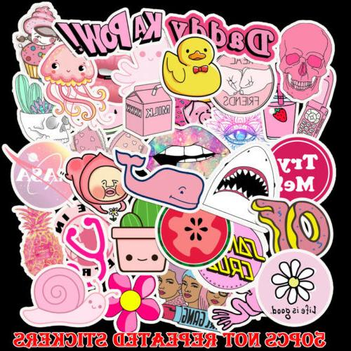 50pcs pink stickers pack for on laptop