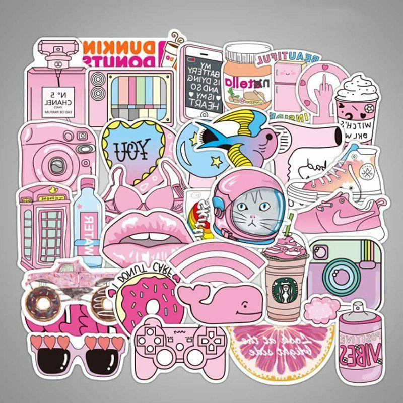 50pcs set anime kwaii pink sticker