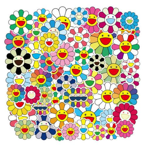 50pcs sticker bomb takashi murakami flower rainbow