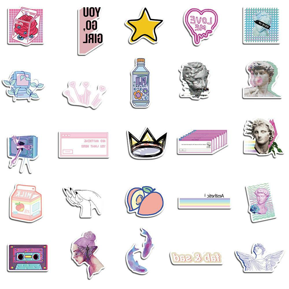 50Pcs Vaporwave Decals for Luggage Graffiti Wall